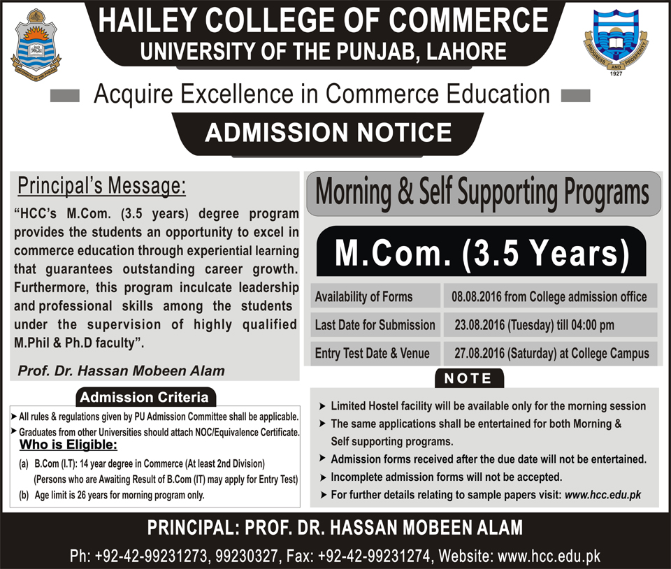 M.Com 3.5 Year Degree Program Morning & Afternoon (Hailey College of Commerce)